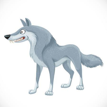Netter wilder grauer Wolf isoliert auf weiß Vektorgrafik