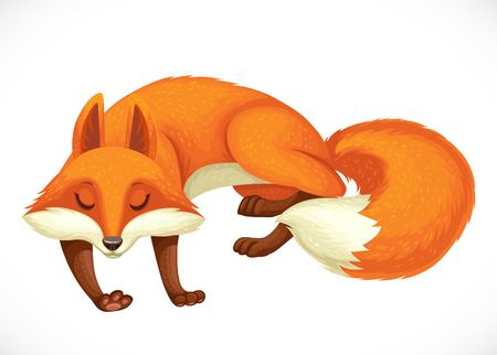 Cheerful wild cartoon orange fox sleep isolated on white background