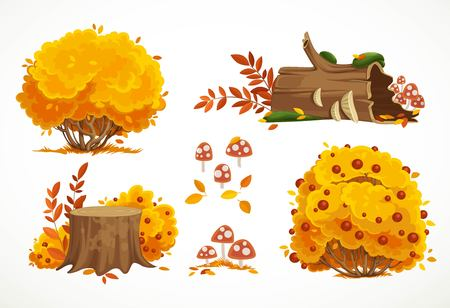 Set of autumn yellow bushes and stumps with fly agarics isolated on white background Stock fotó - 116840318