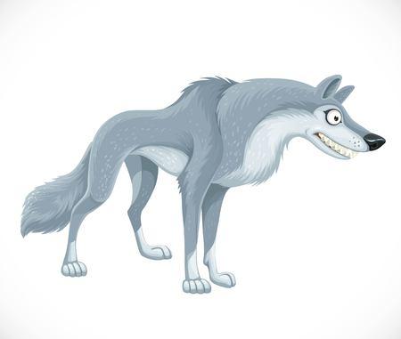 Wild cartoon gray wolf isolated on white Illustration