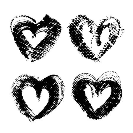 Abstract textured black smooth strokes and stamps in heart shape isolated on a white background Illusztráció