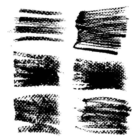 Abstract textured black ink smooth strokes and stamps isolated on a white background