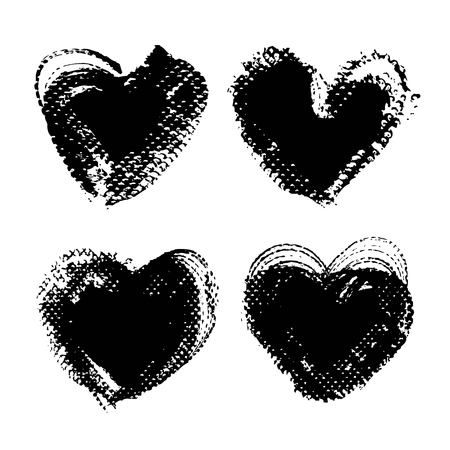 Heart shape abstract textured black smooth strokes and stamps backgrounds