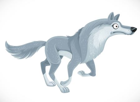 Wild cartoon gray wolf run forward isolated on white