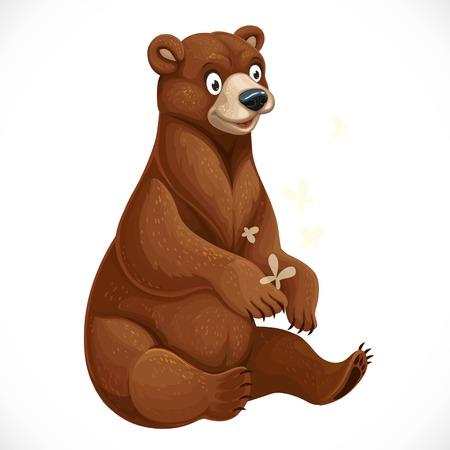노란 나방을 가지고 노는 귀여운 만화 곰은 흰색 바탕에 앉아 있다