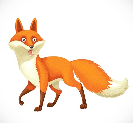 Cheerful wild cartoon orange fox going forward isolated on white background Stock Illustratie