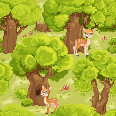 Seamless pattern with green summer forest with cute cartoon spotted fallow deers and  fly agarics 向量圖像