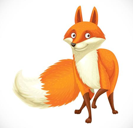 Cute cartoon orange fox isolated on white background