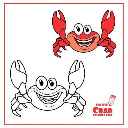 Sea crab color and outlined isolated on white Illustration
