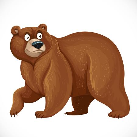 Cartoon bear stands on four legs isolated on white