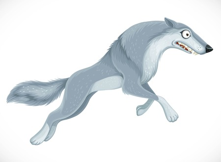 Wild cartoon gray wolf jump forward isolated on white