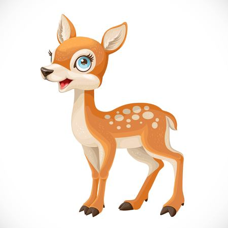 Cute cartoon spotted fallow deer isolated on a white Stock Illustratie