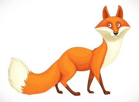 Cute wild cartoon orange fox going forward isolated on white background Illustration