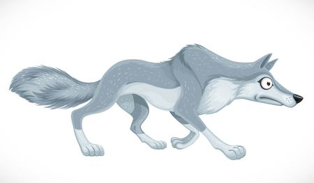 Wild cartoon wolf run forward isolated on white