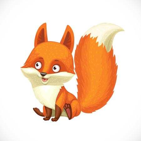 Cute little fox sit on a white background