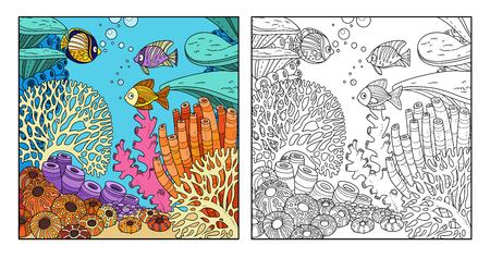 Underwater world with corals and fish color and outlined for coloring page on white background