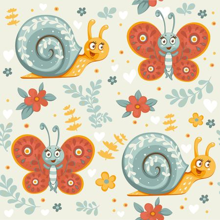 Seamless ornament of decorative cartoon  butterflies, flowers and snails on a beige Фото со стока - 118903608
