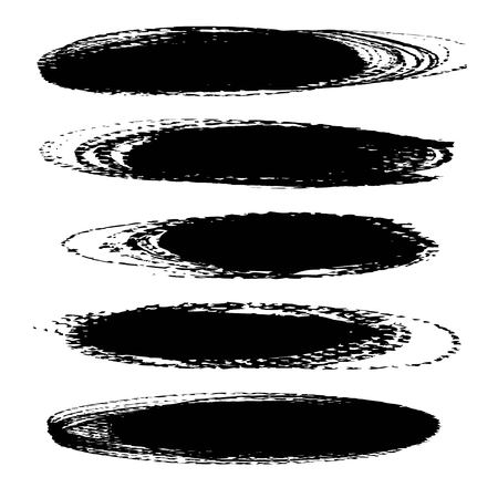 Oval long black ink textured strokes isolated on a white background Çizim