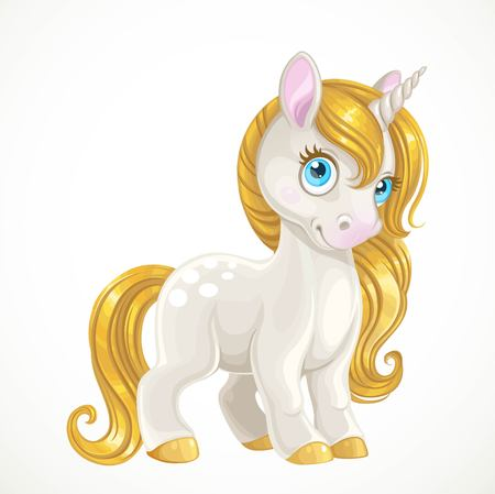 Cartoon unicorn with a golden mane isolated on white background 向量圖像