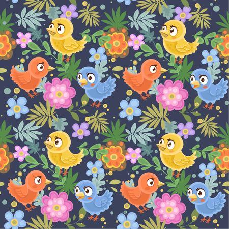 Ornement décoratif sans couture des oiseaux et des fleurs sur un fond bleu-foncé