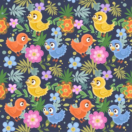 Seamless decorative ornament of birds and flowers on a dark blue background