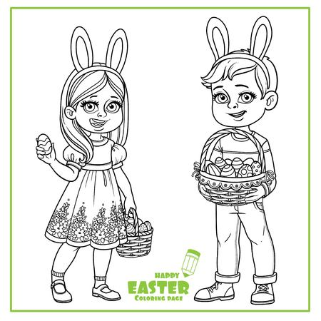 Cute boy and girl in rabbit ears and with baskets of Easter eggs outline for coloring on a white background Ilustracja