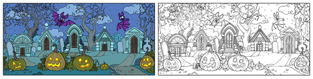 Seamless background from scary old cemetery with Halloween pumpkins and bats color and outlined for coloring page