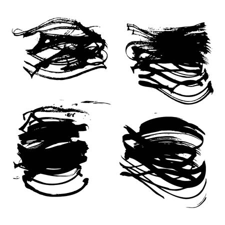 Arbitrary fancy abstract form black strokes white paper isolated on a white Çizim