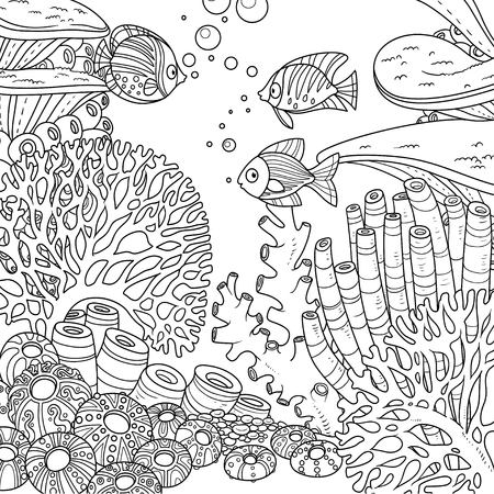 Underwater world with corals and fish outlined for coloring page on white background Ilustracja