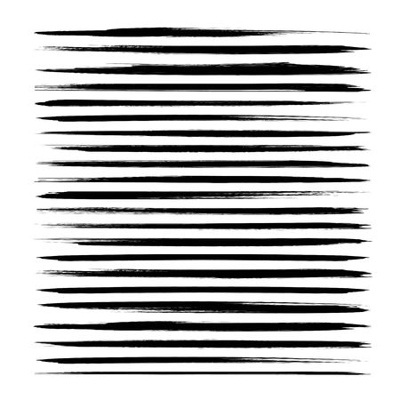 Abstract textured thin long black ink strokes set isolated on a white background