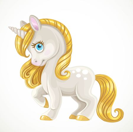 Cute unicorn with a golden mane isolated on white background Stok Fotoğraf - 118456372