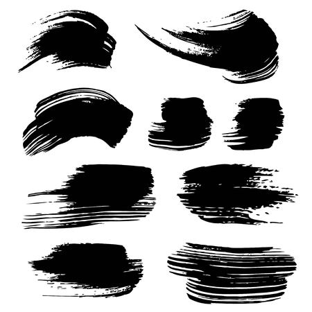 Abstract black ink strokes isolated on a white  イラスト・ベクター素材