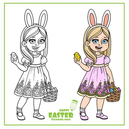 Cute girl in rabbit ears and with baskets of Easter eggs color and outline for coloring on a white background