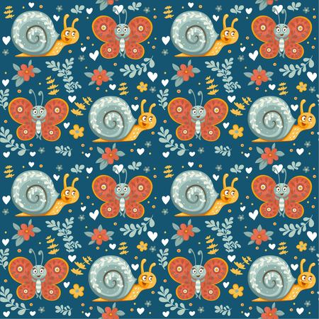 Seamless ornament of decorative cartoon  butterflies, flowers and snails on a dark blue Фото со стока - 118903612