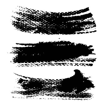 Ink abstract black textured strokes isolated on a white background