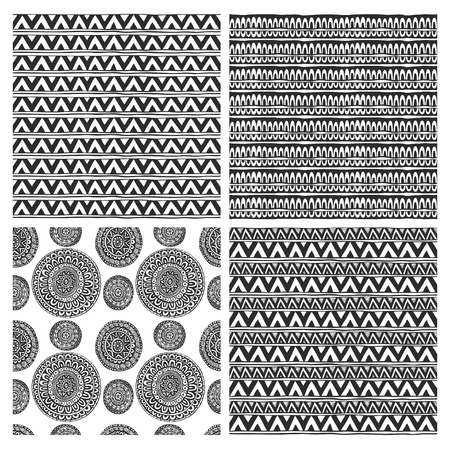 Seamless ornaments from geometric elements in ethnic style black and white set