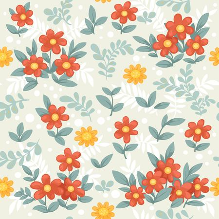 Seamless decorative ornament of beautiful red and yellow flowers on a beige background