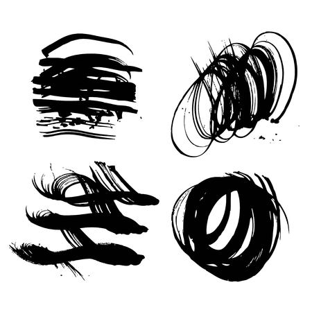 Arbitrary fancy abstract different form black strokes white paper isolated on a white background