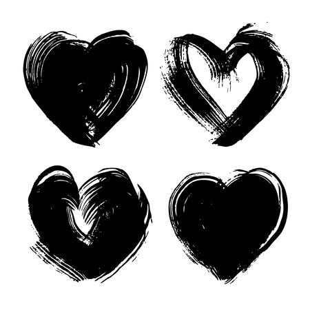 Abstract black ink strokes in heart shape set isolated on a white background