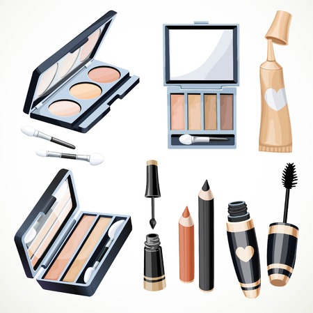 Set of objects cosmetics to emphasize the expressiveness of the eyes isolated on a white background