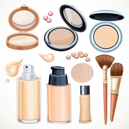 Set of cosmetics to give the skin a smooth tone isolated on a white background Иллюстрация