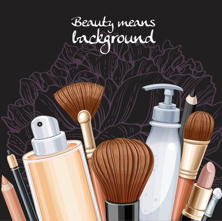 Cosmetics for make-up with pink peony flower on black
