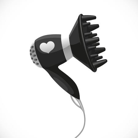 Hair dryer with diffuser isolated on a white background Ilustracja