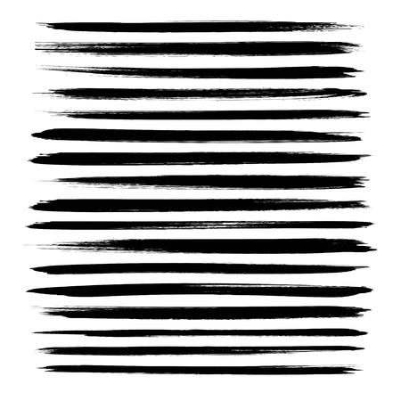 Abstract textured black ink long strokes set isolated on a white background
