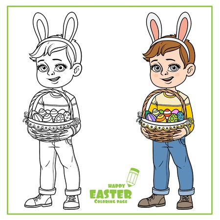 Cute boy in rabbit ears and with baskets of Easter eggs color and outline for coloring on a white background
