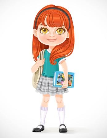 Écolière brune de dessin animé mignon avec sac à dos et manuels isolés sur fond blanc