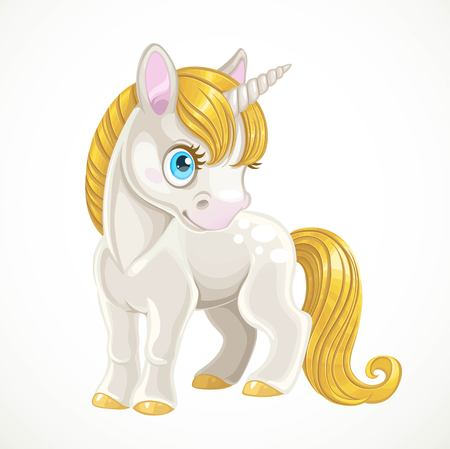 Cute cartoon white unicorn with a golden mane stand on white background