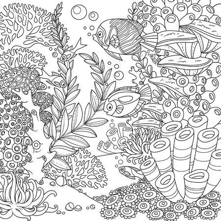 Mundo submarino de dibujos animados con corales y peces descritos aislados en blanco