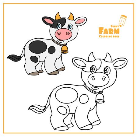 Cute cartoon cow with bell color and outlined on a white    for coloring page Çizim