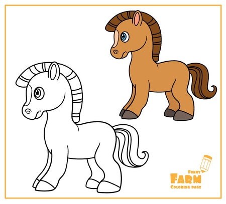 Cute cartoon horse color and outlined on a white  for coloring page